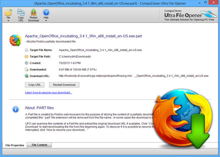 Open Firefox  PART File | Ultra File Opener